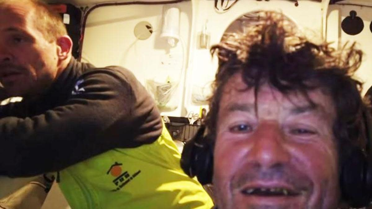 Le Cam (right) and Escoffier (left) soon after the rescue aboard Le Cam's Imoca 60