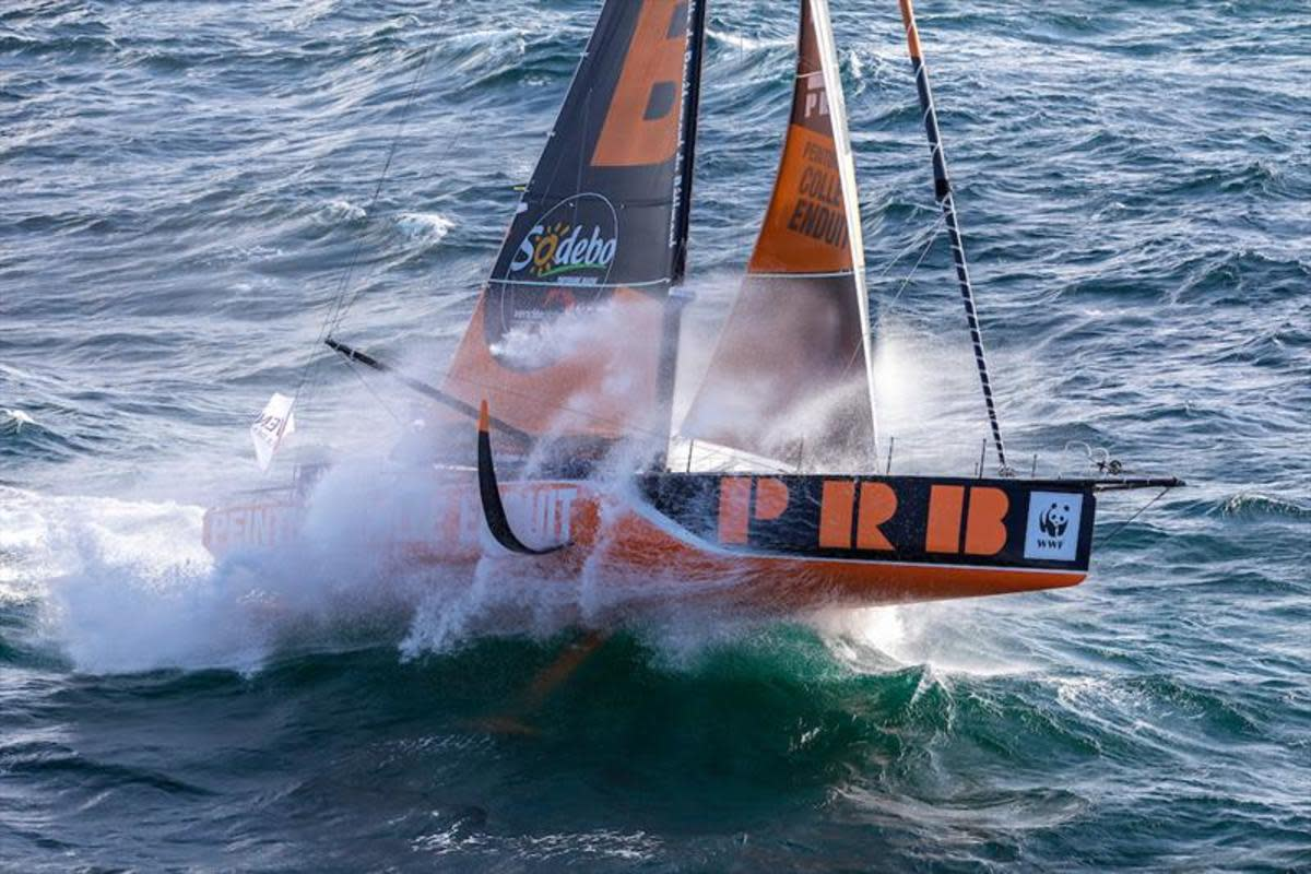 Kevin Escoffier's Imoca 60 in action before it snapped in half in the Southern Ocean