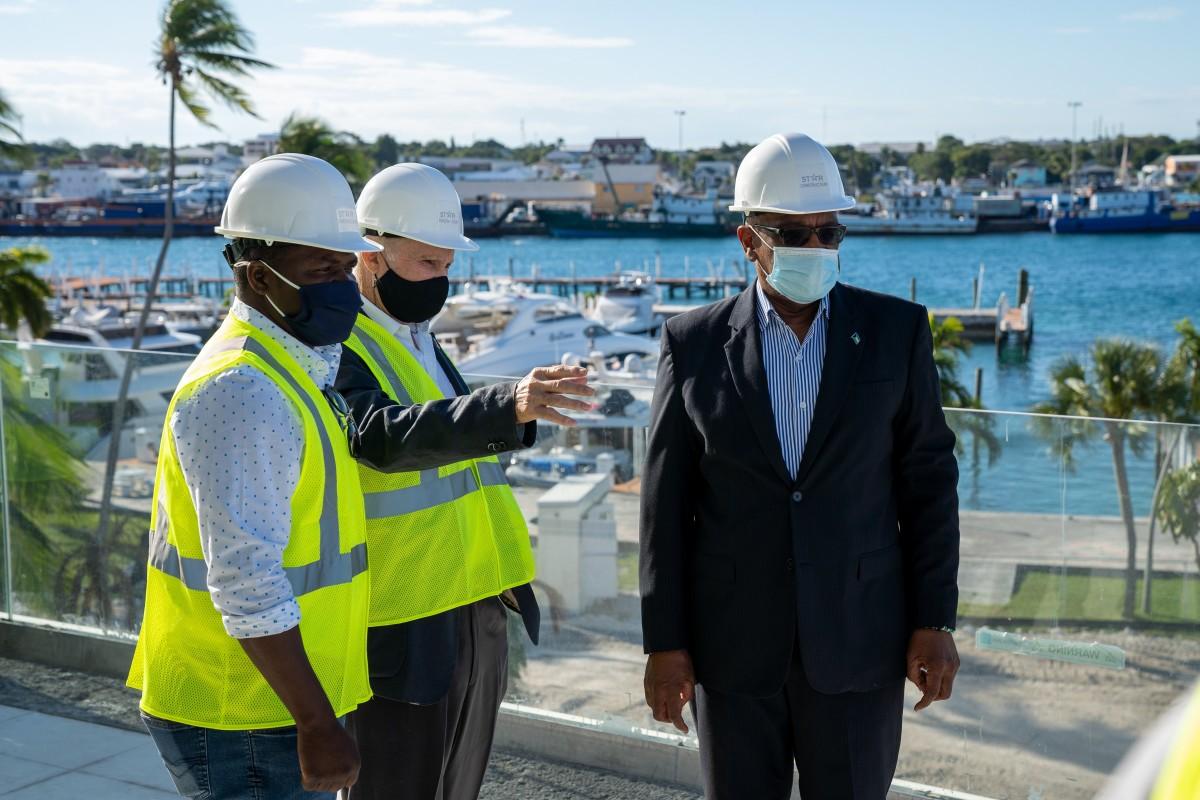 Bahamas Prime Minister Dr. Hubert Minnis tours Hurricane Hole Superyacht Marina at Paradise Landing
