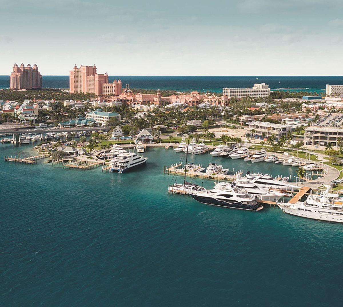 Aerial view of original Hurricane Hole Marina