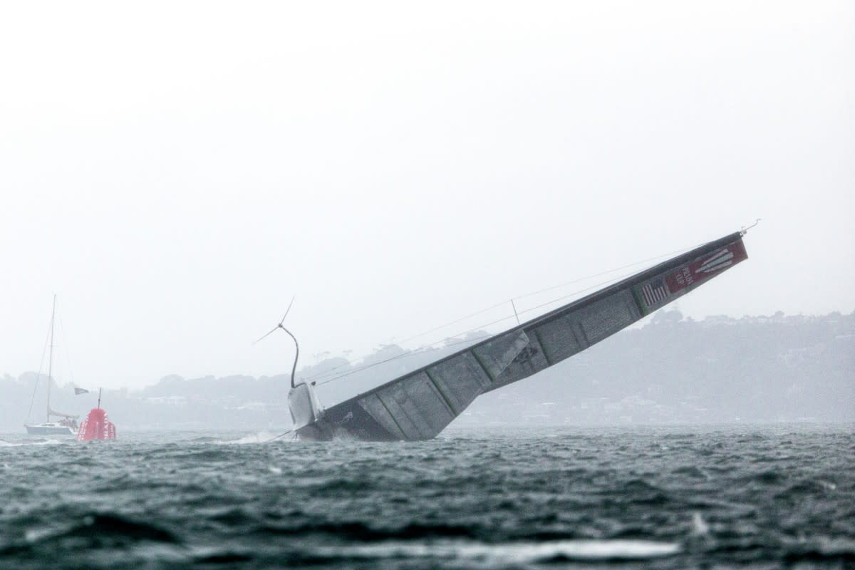 Patriot slammed down on her port side and nearly sank.