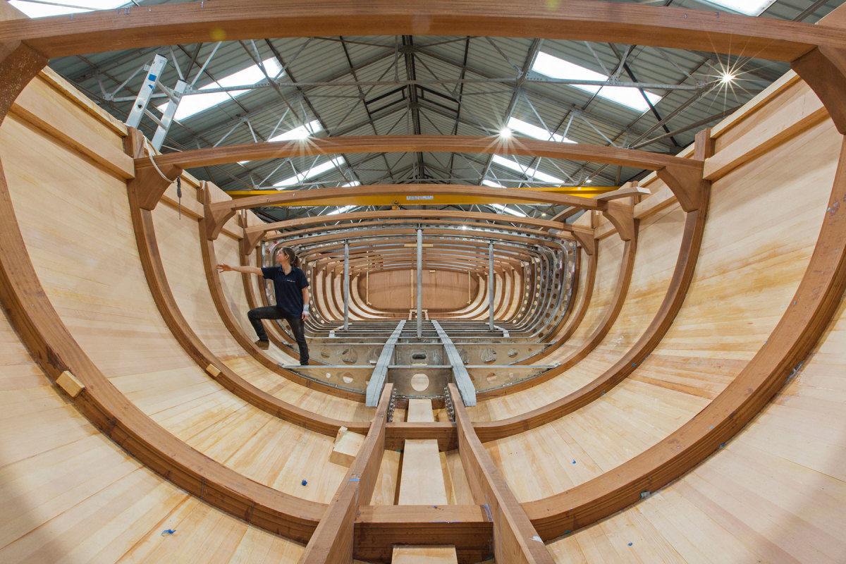 The wood and epoxy hull during construction.