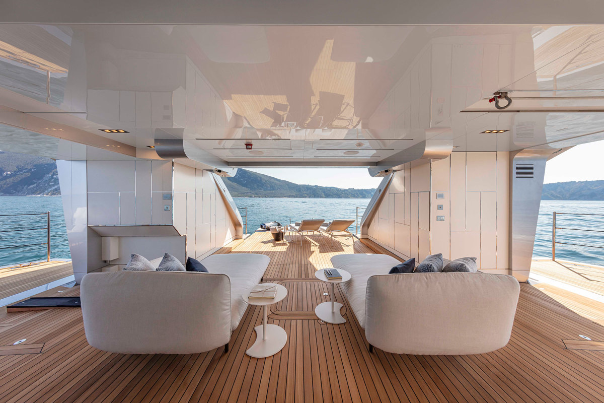 The tender garage converts to a beach club in the stern when the fold-down bulwarks are deployed.