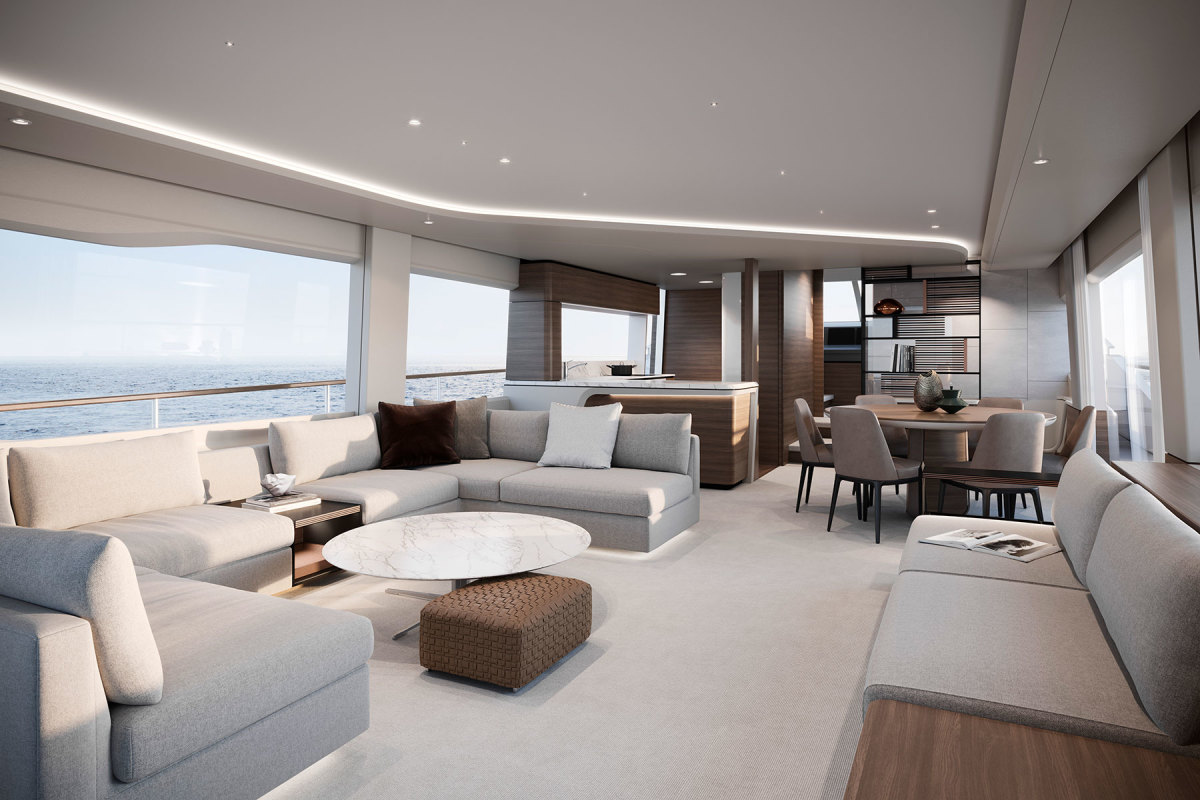 The Y85's main deck feels more casual than on previous models, with a round dining table rather than a rectangular one, and with an open galley and bar facing the salon.