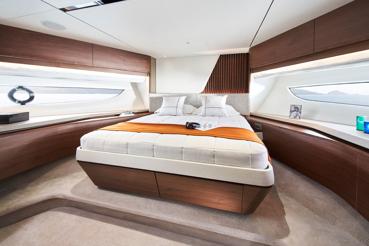 For the Y85's interior, Princess offers a choice of walnut, oak or silver oak in satin or gloss finishes. Owners have their choice of stone, and fabrics are available from a variety of designers.