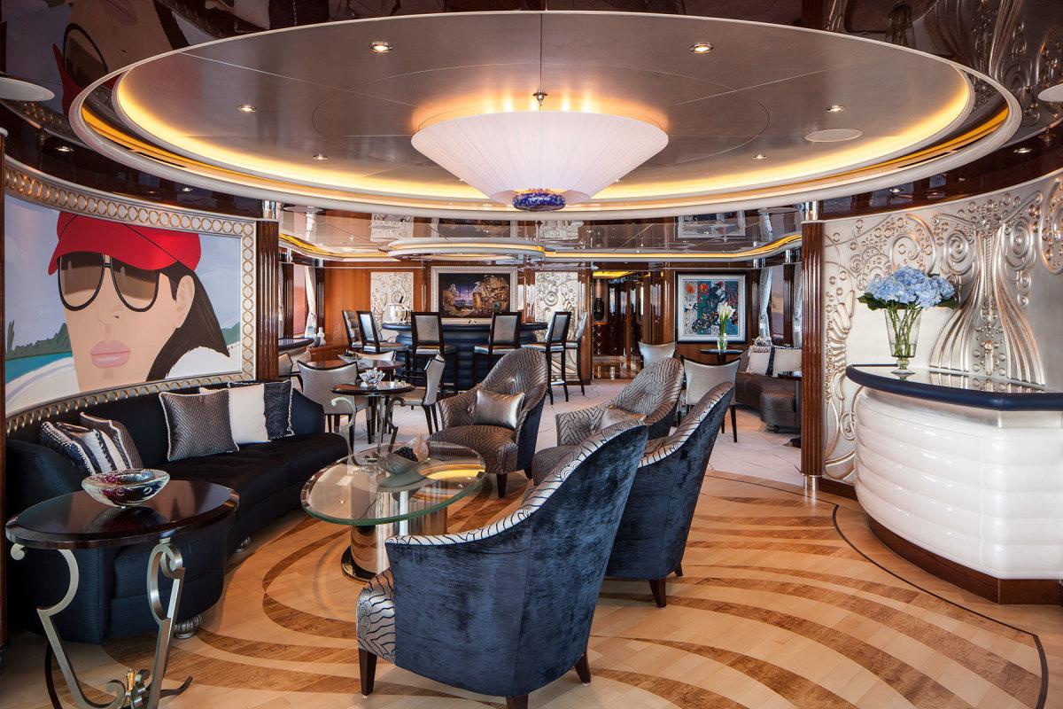 Marshall created the interior of the 187-foot Trinity Lady Linda.