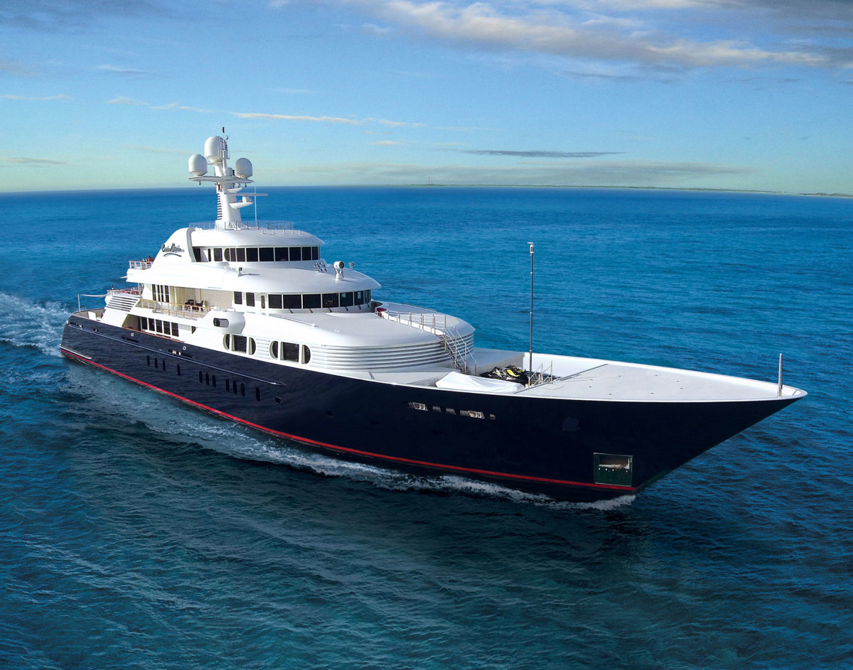 The 243-foot Cocoa Bean was a design collaboration between Marshall and Trinity Yachts.