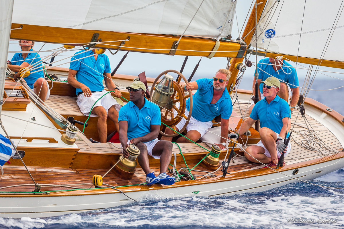 Marshall racing aboard the 1937 Sparkman & Stephens yawl Skylark in 2014.