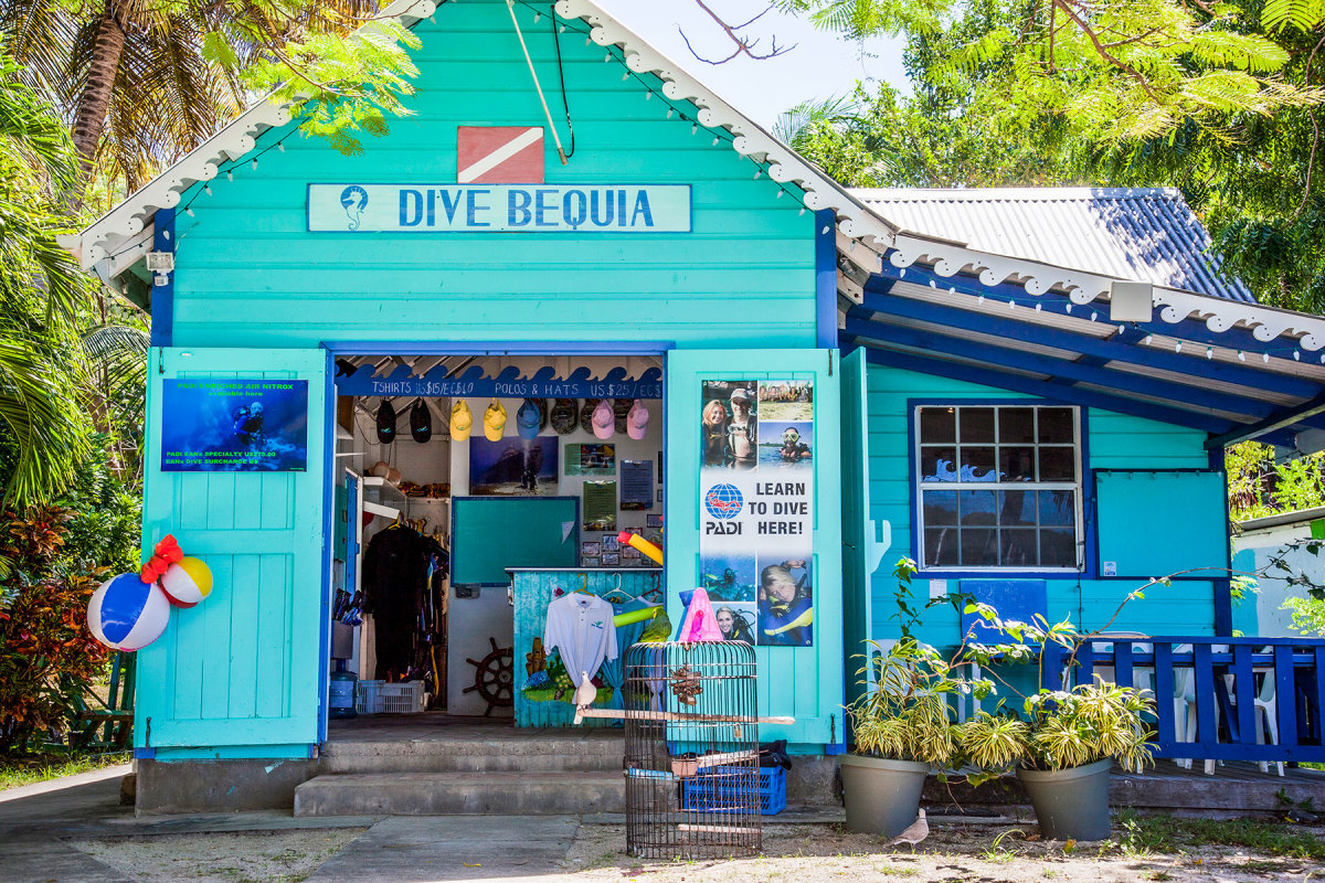 A dive shop on Bequia.