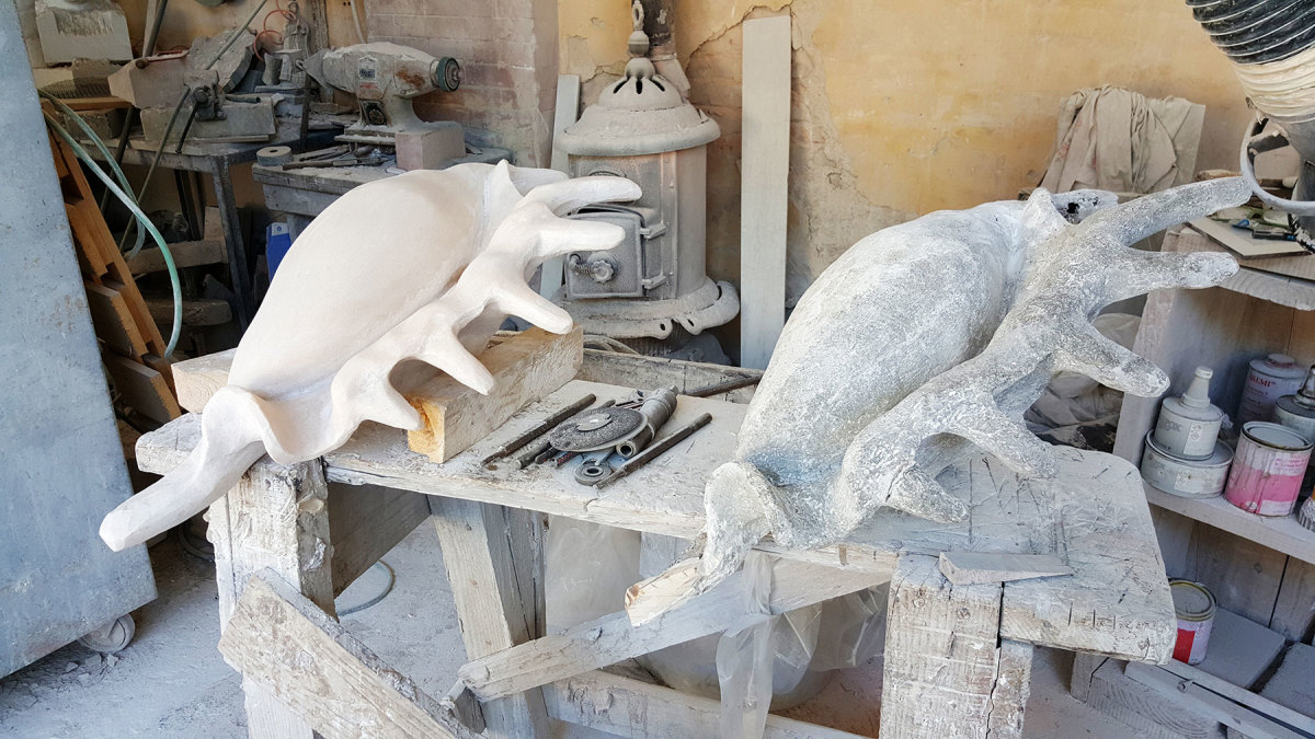 A Lambis shell sculpture  underway. The gray version on the right is a scale model that helps the sculptor achieve the desired form.