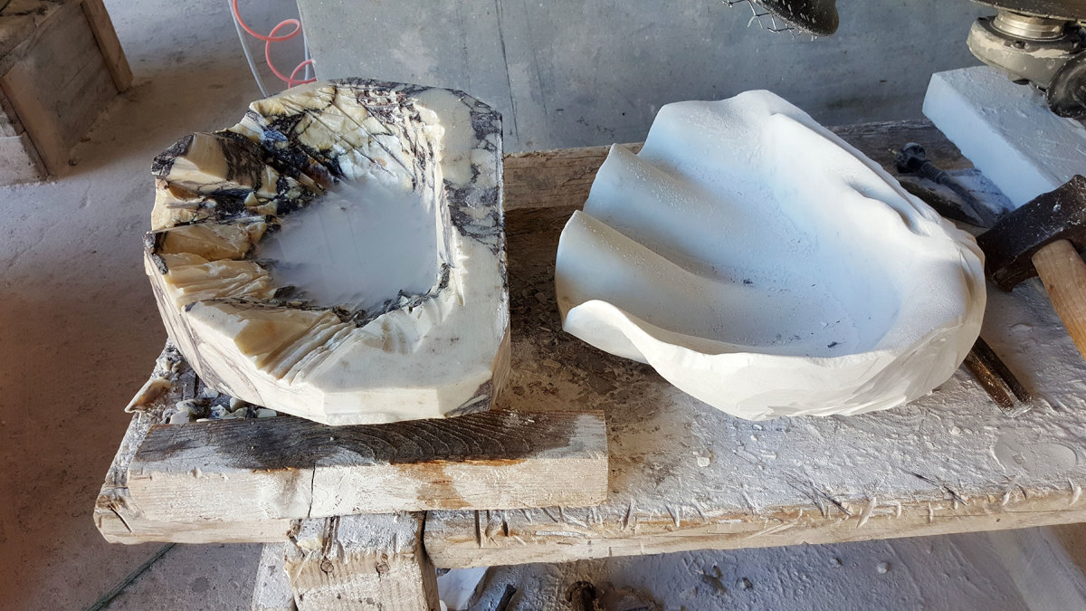 Phases in the creation of a giant clam shell.