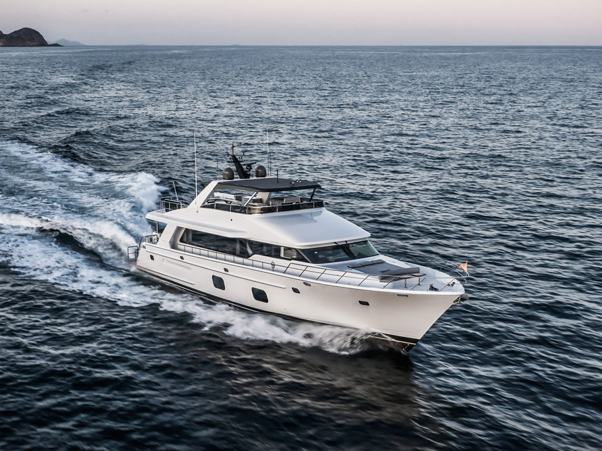 The CLB88's straight sheerline gives the yacht a profile that is nothing short of imposing.