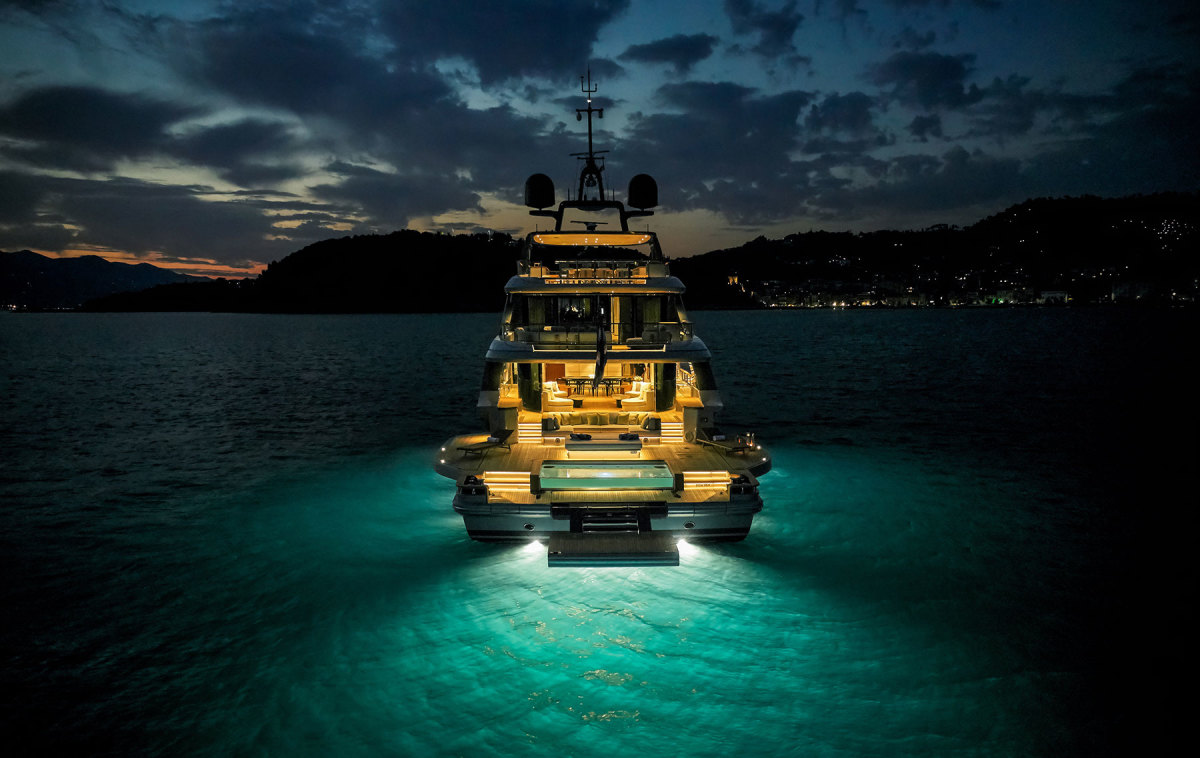 Lighting on deck and underwater creates an enticing ambience on the Oasis 40M.