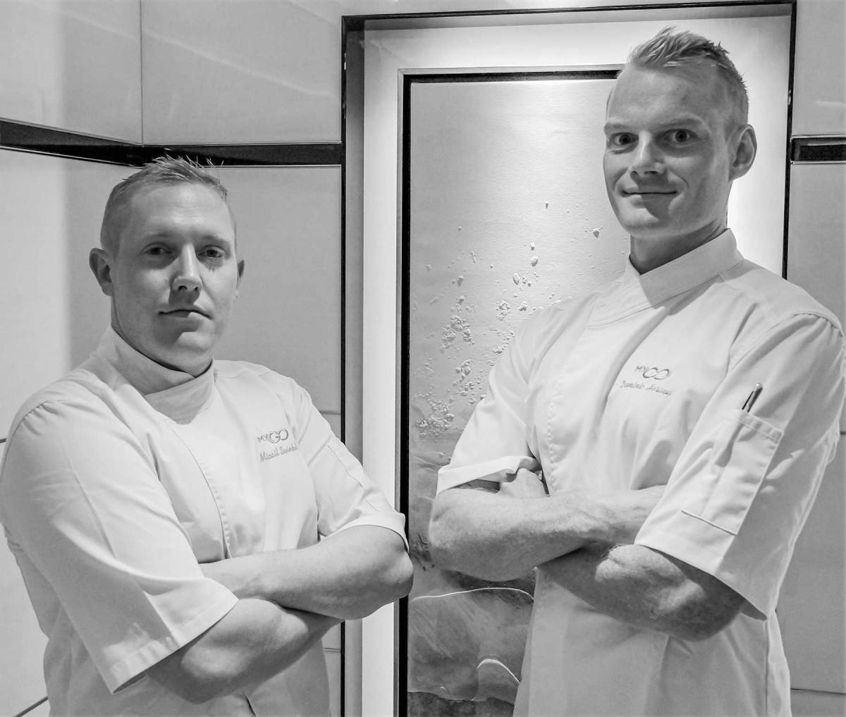 Head Chef Micail Swindells and assistant chef Dominic Horsey aboard Go.