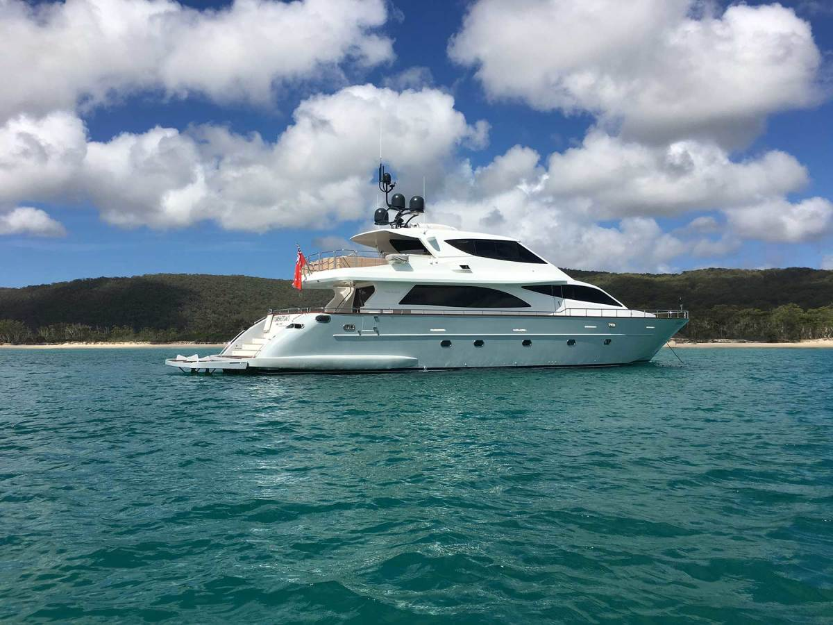 The 92-foot Falcon Norseman, owned by Coral Sea Marina Resort owner Paul Darrouzet, is ideally suited to a day of cruising the stunning bays and inlets found throughout the Whitsunday Islands.