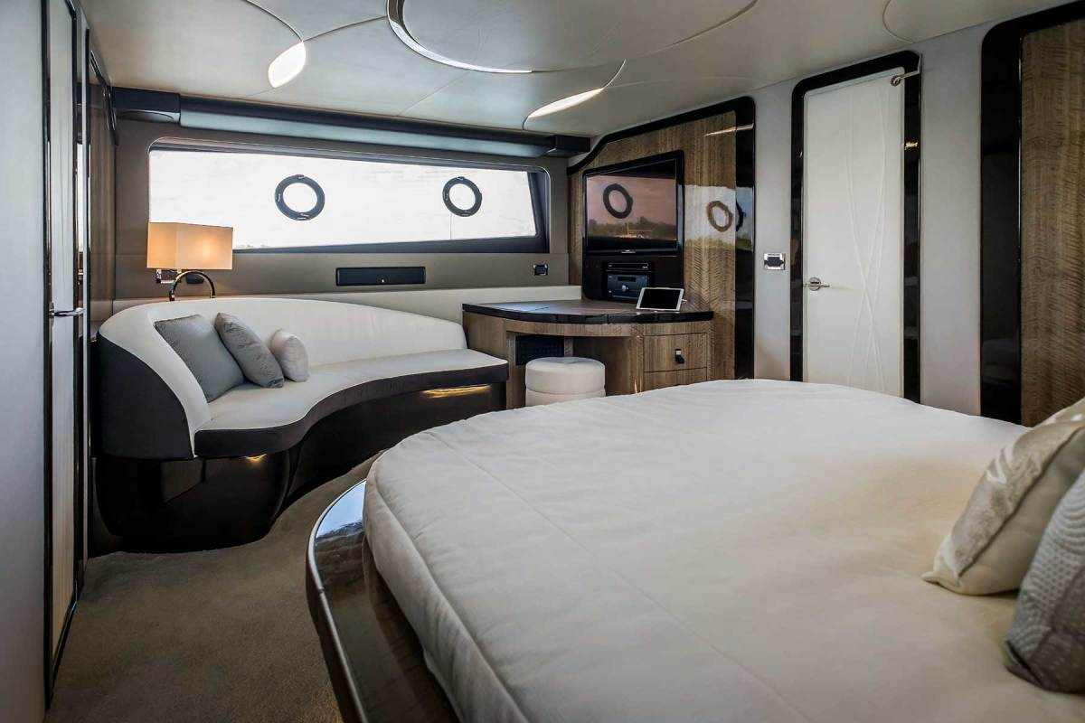 The master stateroom has the feel and finish of a Lexus automobile.