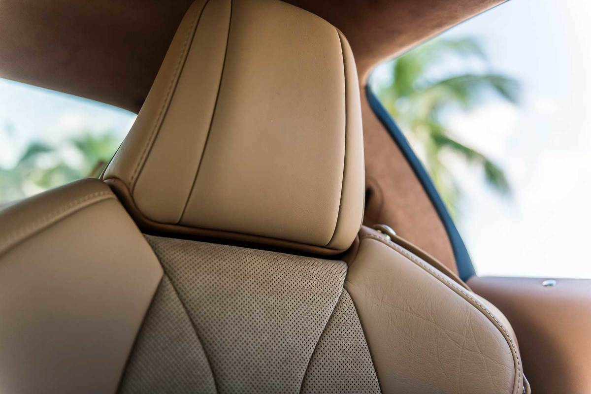 Witness the quality of the stitching on the leather upholstery.