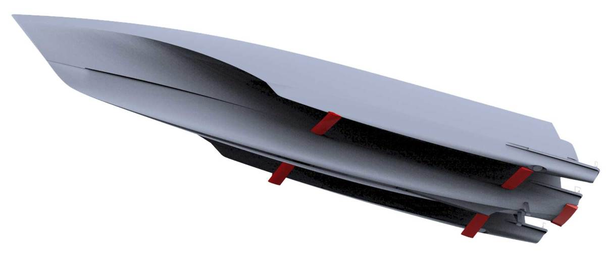 Stability fins on echo yachts' white rabbit G