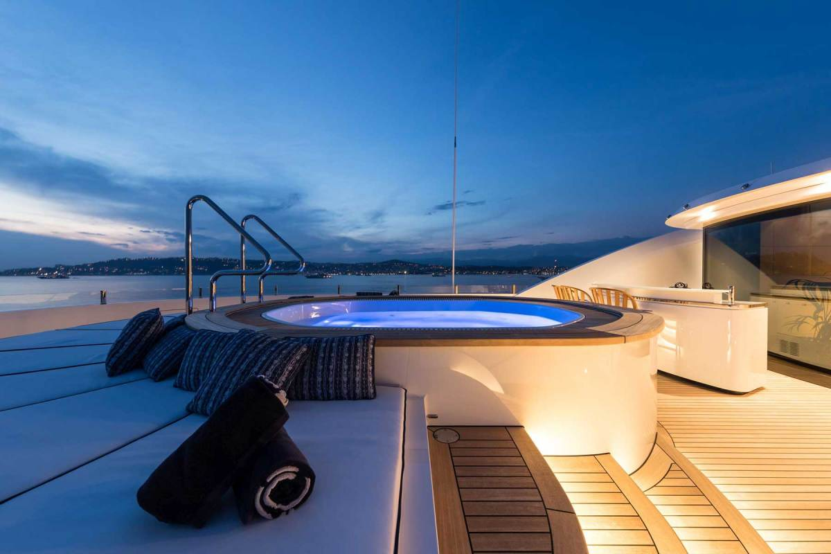 The yacht's abundant amenities include a spa tub on the sundeck.