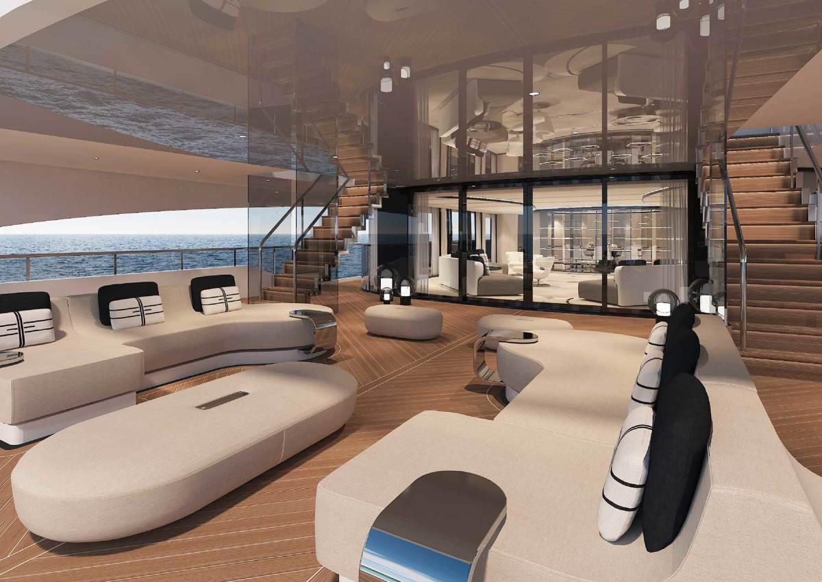 Renderings of the 230-foot (70-meter) yacht concept Elle.