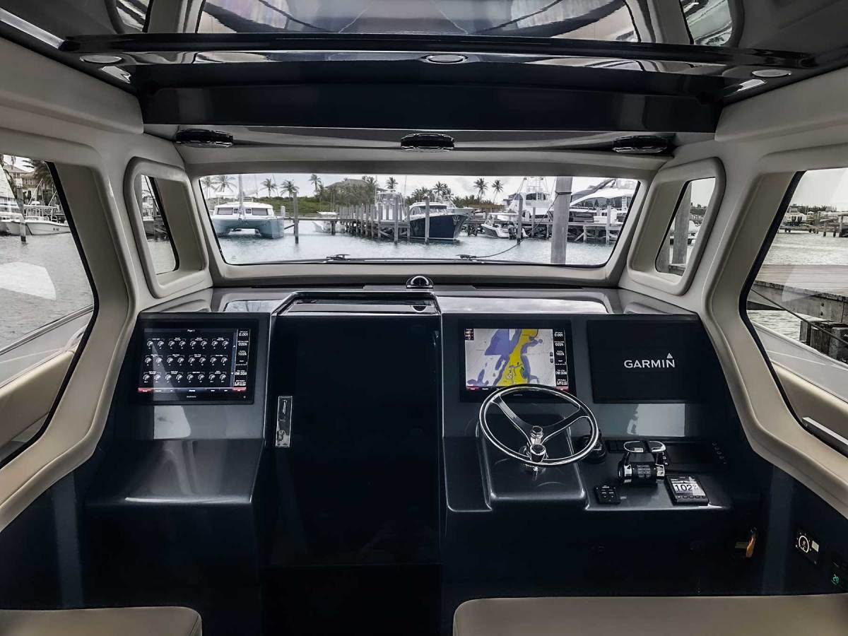 Gulfstream Yachts owner Hunter James wanted a boat that offered room to fish and stay active, but that also provided protection from the elements at the helm.