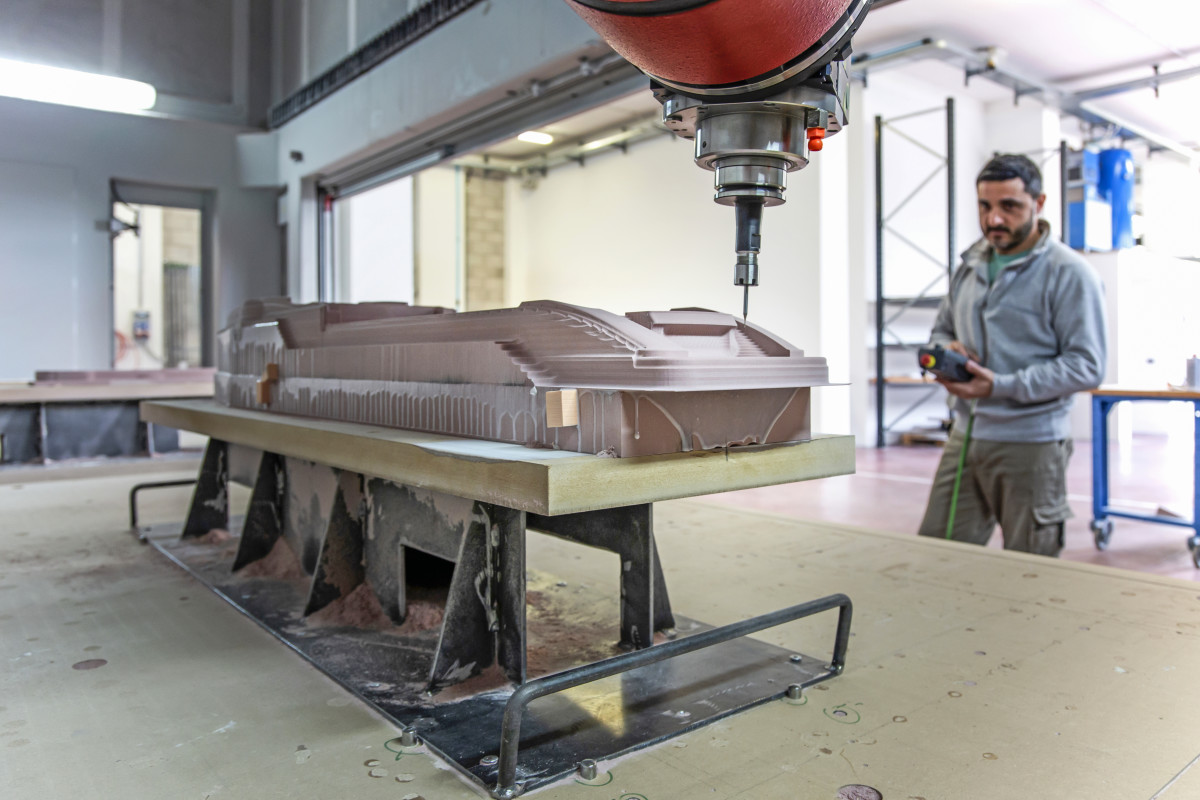 The process starts with the high-tech milling of the hulls and deck structures out of resin.