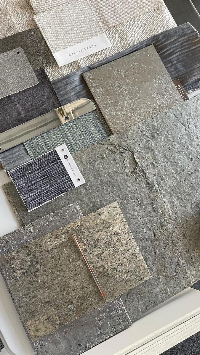 Samples of interior finish materials from Ewa's desk.
