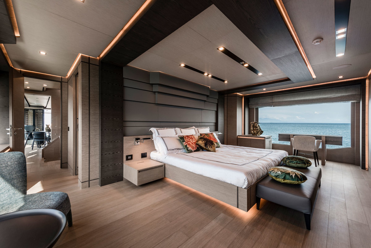 The owner's suite on the main deck forward