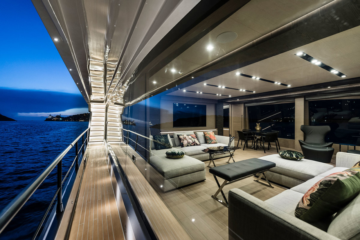 A side deck to port is for docking in a private berth in Miami.