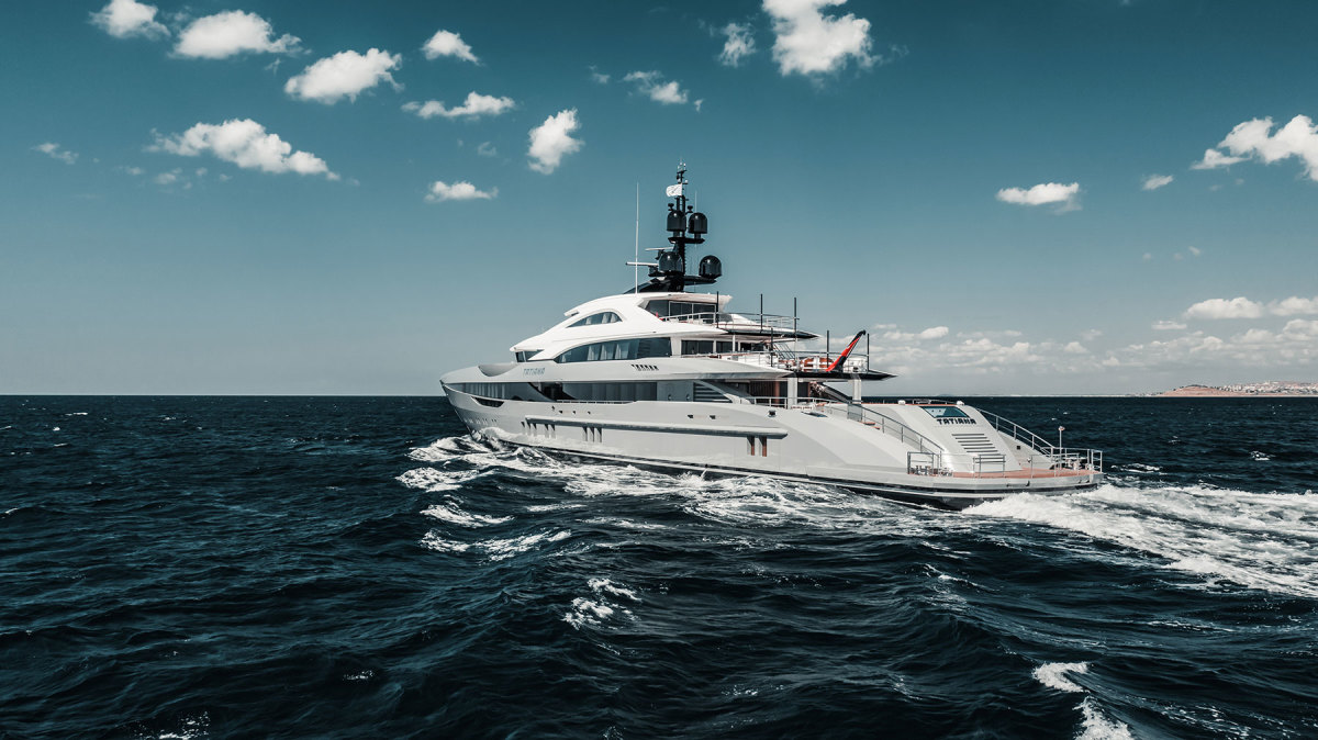 Unique Yacht Design and Bilgin spent months finessing Tatiana's exterior lines, which combine with the gray hull and white superstructure to look like a bullet.